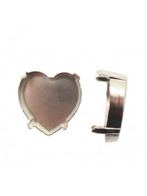 Castone per gemma o cabochon a cuore da 28 mm. (CHIUSO SENZA FORI)