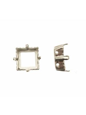 Castone per gemma o cabochon quadrato (con angoli a spigolo vivo) da 12x12 mm.