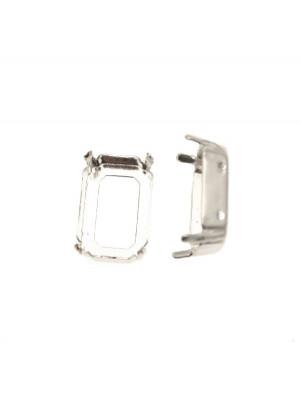 Castone per gemma o cabochon rettangolare da 18x13 mm. con gli angoli smussati.