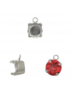 Porta gemma tonda conica SS39 (8,2 mm) a forma di castone chiuso con anellino tondo chiuso da 1,5 mm.