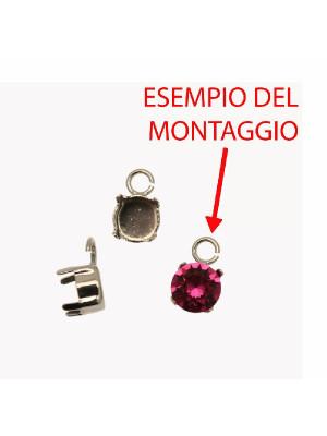 Porta gemma tonda conica SS34 (7,2 mm) a forma di castone chiuso con anellino tondo apribile da 4 mm.