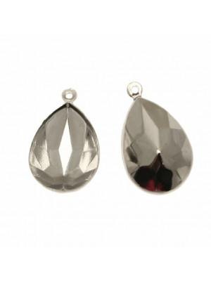 Porta gemma a goccia da 18x13 mm., a ciondolo, con un anello in alto.