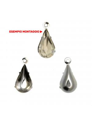 Porta gemma ovale, con anello tondo chiuso in alto, a ciondolo, 6x10mm.