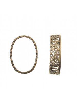 Porta gemma ovale (18x25 mm.) a forma di castone filigranato, 15x20 mm alto 6 mm.