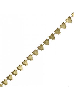 Catena porta strass a forma di cuore, 11x10 mm., base Ottone
