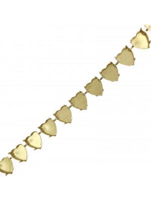 Catena porta strass a forma di cuore, 14x15,5 mm., base Ottone