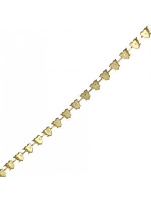 Catena porta strass a forma di cuore, 8x8,8 mm., base Ottone