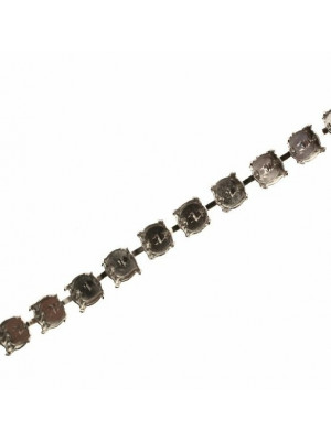 Catena porta strass, 8,2 mm. (SS39), base Argentato Rodio