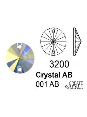 Swarovski Cabochon Tondo (forato) CRYSTAL AB - 3200