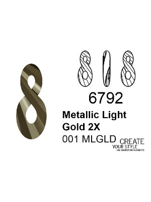 Swarovski Ciondolo Infinito METALLIC LIGHT GOLD 2X - 6792