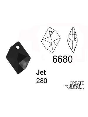 Swarovski Ciondolo Goccia romboidale JET - 6680