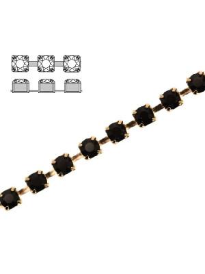 Catena strass, con cristalli Swarovski, base in metallo colore oro lucido, colore strass JET