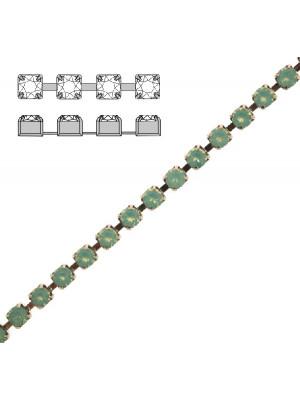 Catena strass, con cristalli Swarovski, base in metallo colore argentato rodio, colore strass PACIFIC OPAL