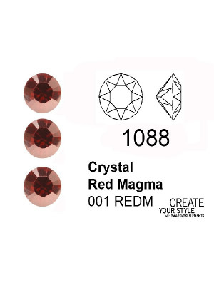 Swarovski Gemma Tonda Conica CRYSTAL RED MAGMA - 1088