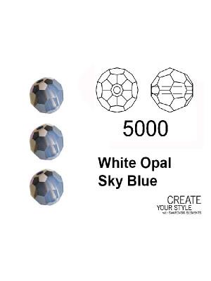 Swarovski Tondo Sfaccettato WHITE OPAL SKY BLUE - 5000