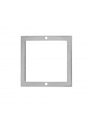 Quadrato liscio, piatto e sottile, forato al centro, con due fori, 20x20 mm.