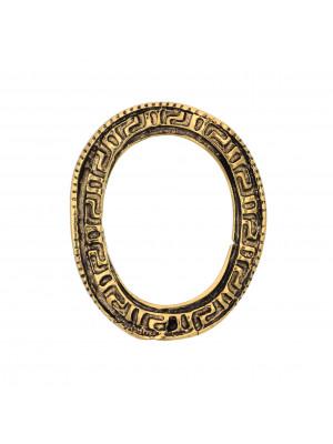 Anello ovale chiuso, ondulato con disegno greca, 30x25 mm.