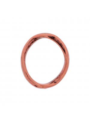 Anello ovale chiuso liscio ondulato grosso, 33x30 mm.