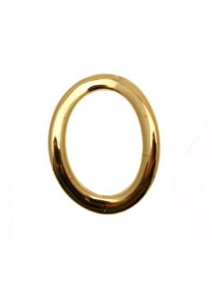 Anello ovale chiuso liscio piatto ondulato, 28x23 mm.