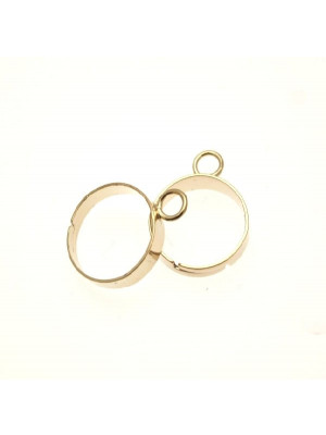 Base per anello, regolabile, charms ad 1 anello da 4 mm. e fascia larga