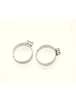 Base per anello, regolabile, charms a 3 anelli con fascia sottile