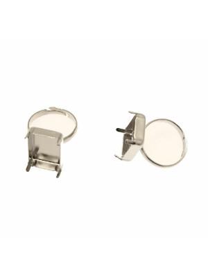 Base per anello, regolabile, con porta cabochon o gemma rettangolare 18x13 mm.