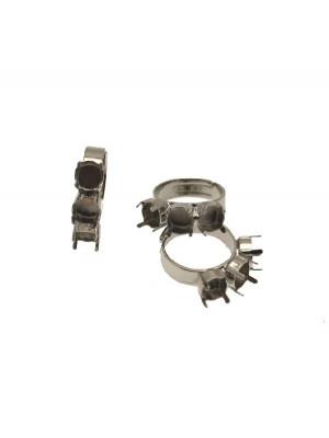 Base per anello, regolabile, a fascia larga con tre porta strass per gemma conica SS34