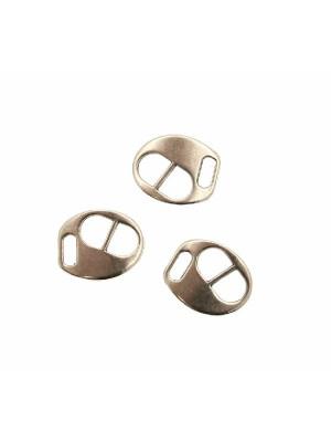 Chiusura per cordoncini o nastri piatti, effetto fibbia, forma ovale, liscia, 14x12 mm.