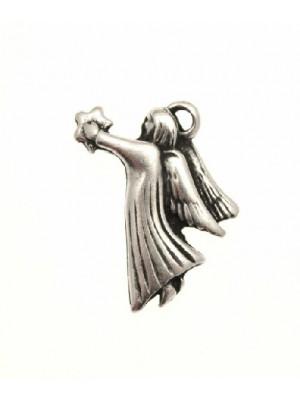 Ciondolo a forma di angelo stilizzato con stella in mano 13x21 mm.