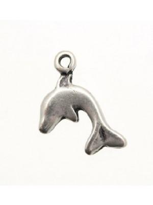 Ciondolo a forma di delfino liscio piatto 15x12 mm.
