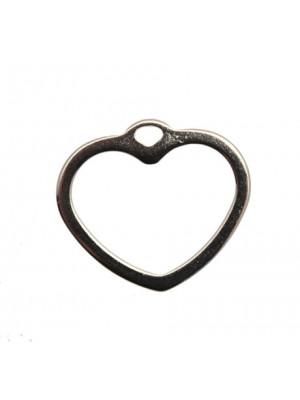 Ciondolo a forma di cuore grande, bucato, 34x30 mm.