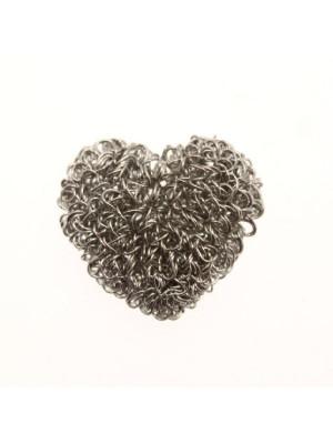 Ciondolo a forma di cuore gomitolo 24x21 mm.