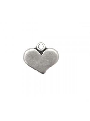Ciondolo a forma di cuore piatto liscio, 16X14 mm.