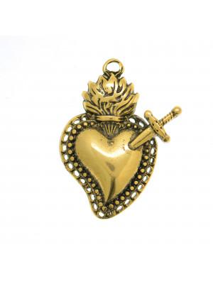 Ciondolo a forma di cuore sacro con pugnale, 31x23 mm.