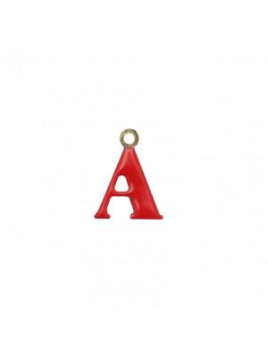 """Ciondolo a forma di lettera """"A"""", smaltato Rosso, 11x14 mm."""