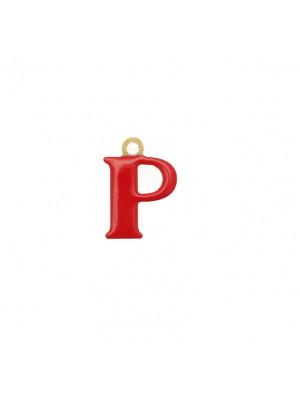 """Ciondolo a forma di lettera """"P"""", smaltato Rosso, 10x14 mm."""