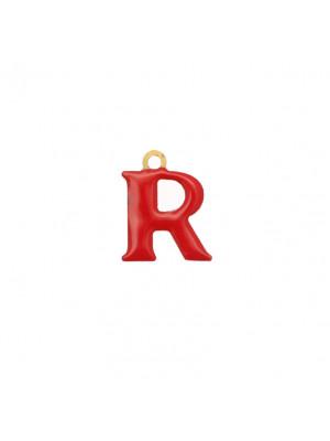 """Ciondolo a forma di lettera """"R"""", smaltato Rosso, 11x14 mm."""