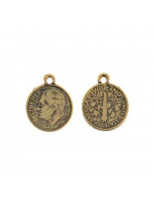 Ciondolo a forma di moneta americana da 10 centesimi, 17x21 mm.
