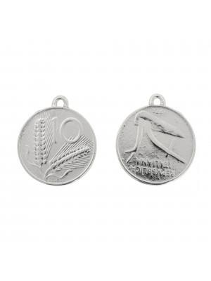 Ciondolo a forma di medaglia 10 lire, 22x25 mm., con un anellino tondo chiuso in alto