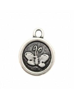 Ciondolo a forma di medaglia con farfalla 1 anello 18 mm.