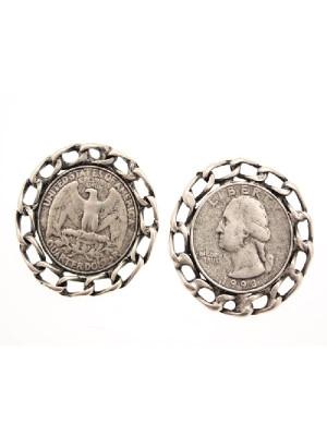 Ciondolo a forma di medaglia con catena attorno e aquila 23 mm.