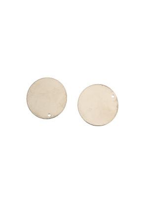 Ciondolo a forma di medaglia tonda liscia, sottile, con un foro, 22 mm.