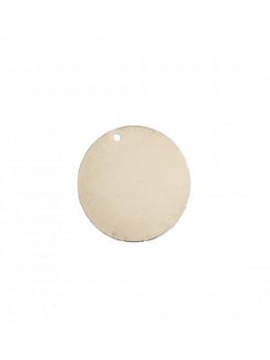 Ciondolo a forma di medaglia tonda liscia, sottile, con un foro, 25 mm.