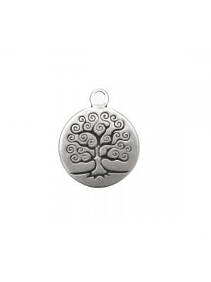 Ciondolo a forma di medaglia tonda con disegno albero della vita, 22x27 mm.