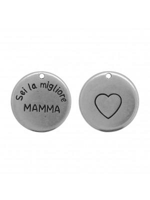 """Ciondolo medaglia con scritta """"Sei la migliore MAMMA"""", diametro 24 mm."""