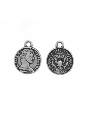 Ciondolo a forma di medaglia con disegni su entrmabi i lati, 19x15 mm.