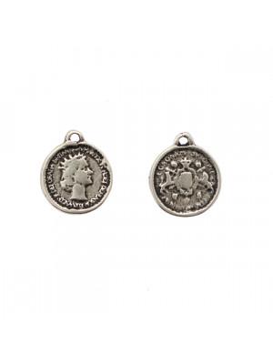 Ciondolo a forma di medaglia, tonda, con Regina Elisabetta II, 14x16 mm.