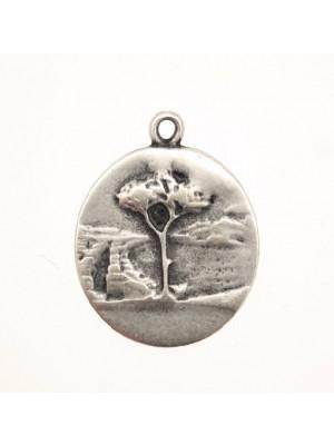 Ciondolo a forma di medaglia con albero e con 1 anello 25 mm.