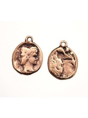 Ciondolo a forma di medaglia con due facce capovolte e 1 anello 22 mm.