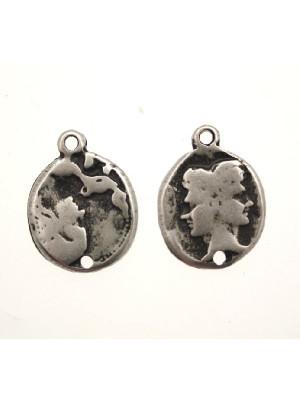 Ciondolo a forma di medaglia con due facce capovolte 1 foro sotto e 1 anello sopra 22 mm.